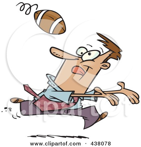 Royalty-Free (RF) Clip Art Illustration of a Cartoon Businessman Playing Football by toonaday