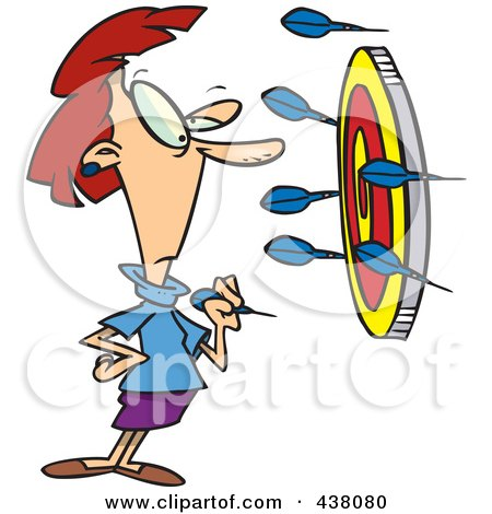 Royalty-Free (RF) Clip Art Illustration of a Cartoon Businesswoman Off Target With Darts by toonaday
