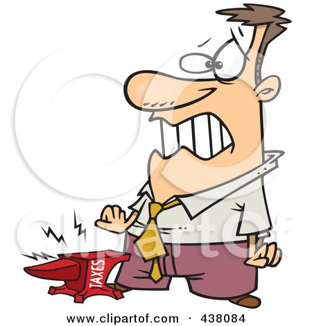 Royalty-Free (RF) Clip Art Illustration of a Taxes Anvil Smashing A Businessman's Foot by toonaday