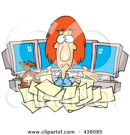 Royalty-Free (RF) Clip Art Illustration of a Cartoon Businesswoman Buried In Tax Documents By Computers by toonaday