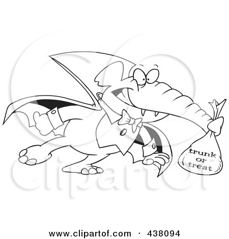 Royalty-Free (RF) Clip Art Illustration of a Cartoon Black And White Outline Design Of A Dracula Elephant Trunk Or Treating On Halloween by toonaday