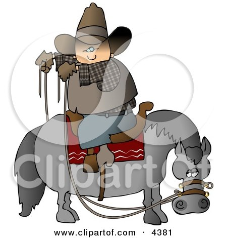 Cowboy Sitting On Horse Saddle Wrong While Holding Reins Clipart by djart