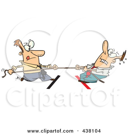 Royalty-Free (RF) Clip Art Illustration of Cartoon Business Men Engaged In Tug Of War by toonaday