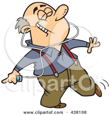 Royalty-Free (RF) Clip Art Illustration of a Cartoon Man Dancing And Listening To Music On An Mp3 Player by toonaday