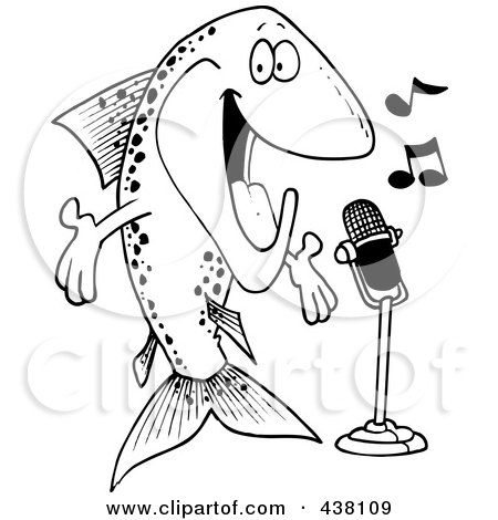 Royalty-Free (RF) Clip Art Illustration of a Cartoon Black And White Outline Design Of A Musical Trout Singing by toonaday