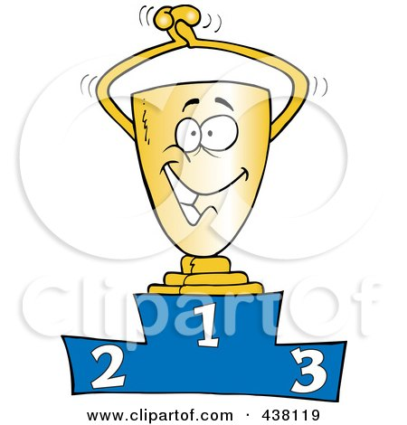 Royalty-Free (RF) Clip Art Illustration of a Cartoon Trophy On The First Place Podium by toonaday