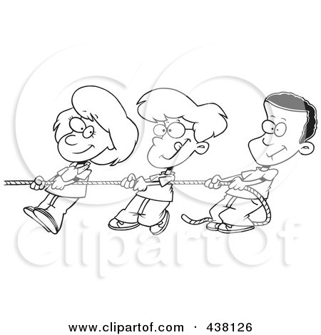 Royalty-Free (RF) Clip Art Illustration of a Cartoon Black And White Outline Design Of A Girl And Boys Pulling A Rope by toonaday
