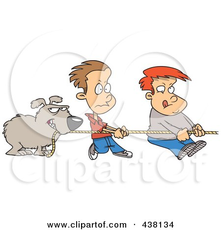 Royalty-Free (RF) Clip Art Illustration of a Cartoon Dog And Boys Tugging On A Rope by toonaday