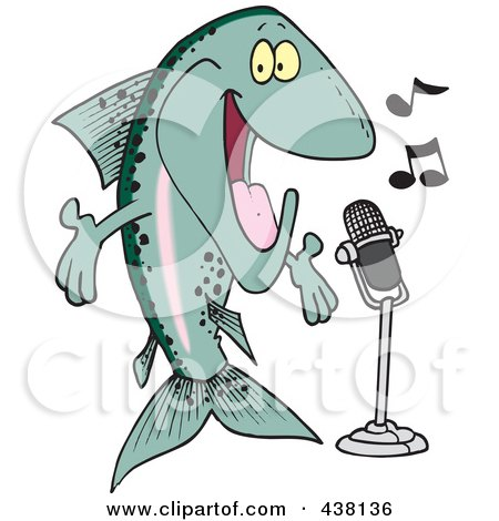 Royalty-Free (RF) Clip Art Illustration of a Cartoon Musical Trout Singing by toonaday