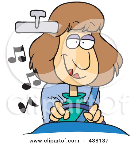 Royalty-Free (RF) Clip Art Illustration of a Cartoon Woman Listening To Music While Driving A Car by toonaday
