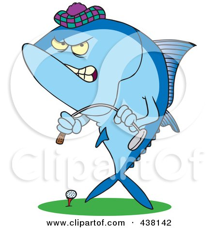 Royalty-Free (RF) Clip Art Illustration of a Cartoon Mad Tuna Fish Playing Golf by toonaday