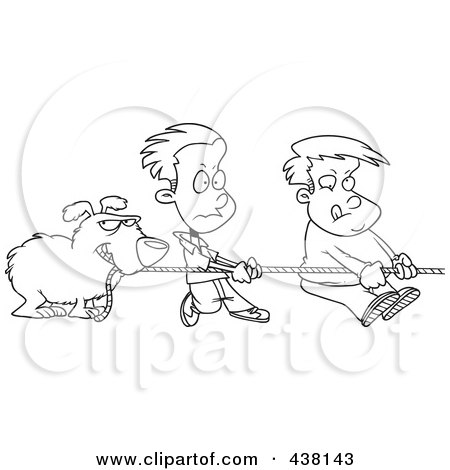Royalty-Free (RF) Clip Art Illustration of a Cartoon Black And White Outline Design Of A Dog And Boys Tugging On A Rope by toonaday
