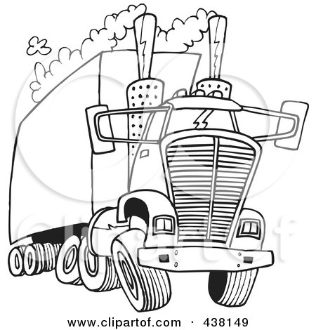 Royalty-Free (RF) Clip Art Illustration of a Cartoon Black And White Outline Design Of A Big Rig Releasing A Lot Of Exhaust by toonaday