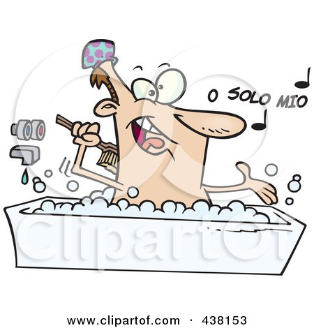 Royalty-Free (RF) Clip Art Illustration of a Cartoon Man Singing And Bathing In A Tub by toonaday