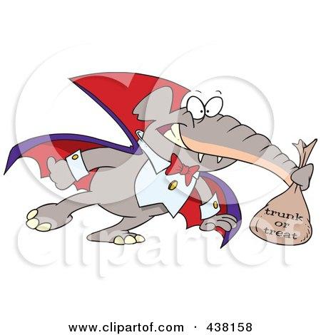 Royalty-Free (RF) Clip Art Illustration of a Cartoon Dracula Elephant Trunk Or Treating On Halloween by toonaday