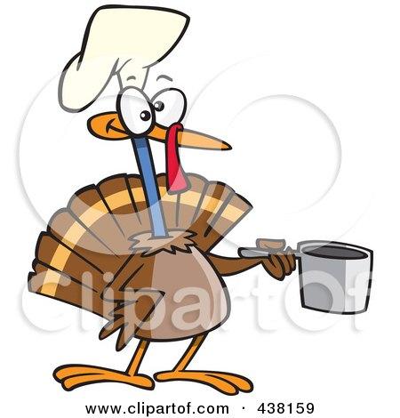 Royalty-Free (RF) Clip Art Illustration of a Cartoon Chef Turkey Bird Holding A Pot by toonaday