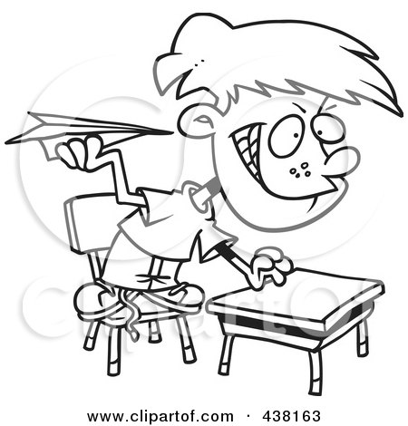cartoon black and white outline design of a mischievous school boy throwing paper planes in class - School Papers To Print