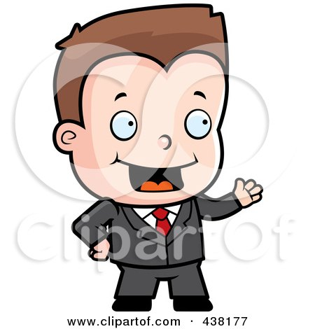 Royalty-Free (RF) Clipart Illustration of a Toddler Businessman Presenting by Cory Thoman
