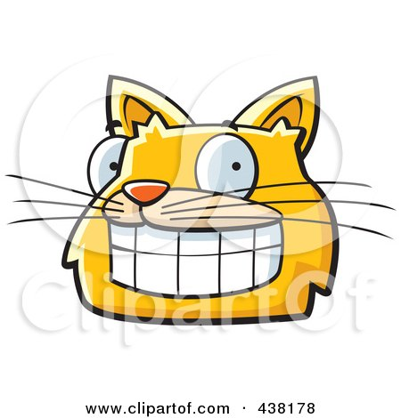 Royalty-Free (RF) Clipart Illustration of a Grinning Orange Cat Face by Cory Thoman