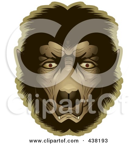 Royalty-Free (RF) Clipart Illustration of a Werewolf Face by Cory Thoman