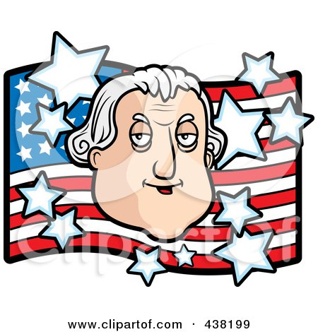 Royalty-Free (RF) Clipart Illustration of a George Washington Over An American Flag by Cory Thoman