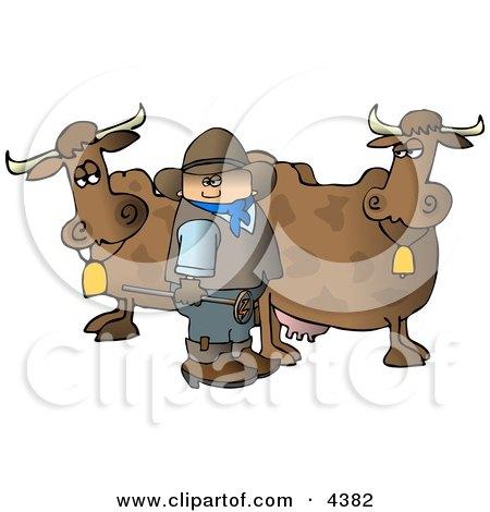 Cowboy Standing Beside Milk Cows with a Hot Branding Iron Clipart by djart