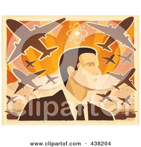 Royalty-Free (RF) Clipart Illustration of a Man's Profile Under War Planes by Cory Thoman