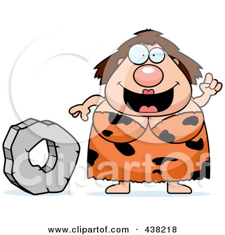 Royalty-Free (RF) Clipart Illustration of a Plump Cave Woman With A Stone Wheel by Cory Thoman