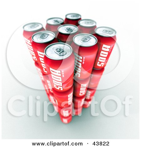 Clipart Illustration of Nine 3d Red Soda Cans by Frank Boston