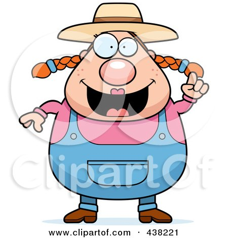 Royalty-Free (RF) Clipart Illustration of a Plump Female Farmer With An Idea by Cory Thoman