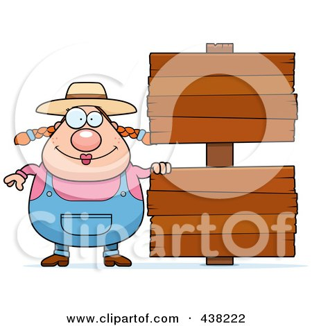 Royalty-Free (RF) Clipart Illustration of a Plump Female Farmer Standing By Blank Signs by Cory Thoman