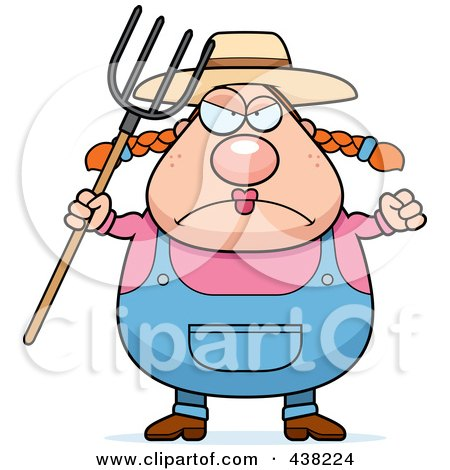 Royalty-Free (RF) Clipart Illustration of a Plump Female Farmer With A Pitchfork by Cory Thoman