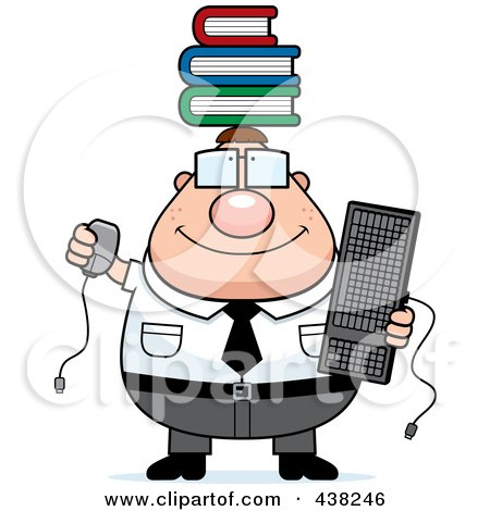 Royalty-Free (RF) Clipart Illustration of a Plump Nerdy Businessman Balancing Books On His Head by Cory Thoman