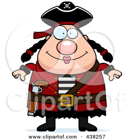 Royalty-Free (RF) Clipart Illustration of a Plump Female Pirate by Cory Thoman