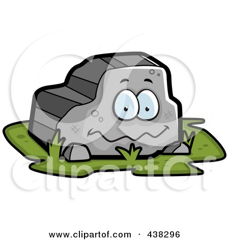 Cartoon clipart of a black and white bulky stone golem man - Clipart illustration ...