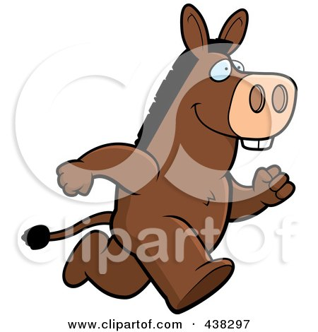 Royalty-Free (RF) Clipart Illustration of a Donkey Running Upright by Cory Thoman