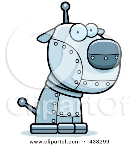 Royalty-Free (RF) Clipart Illustration of a Metal Robotic Dog by Cory Thoman