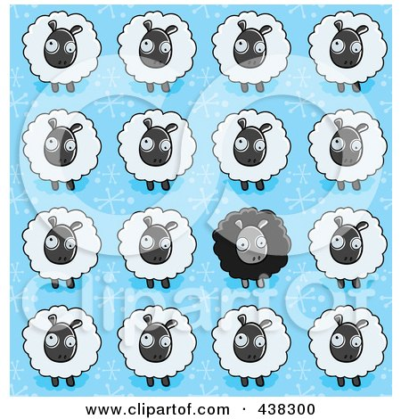 Royalty-Free (RF) Clipart Illustration of a Sheep Background Pattern by Cory Thoman