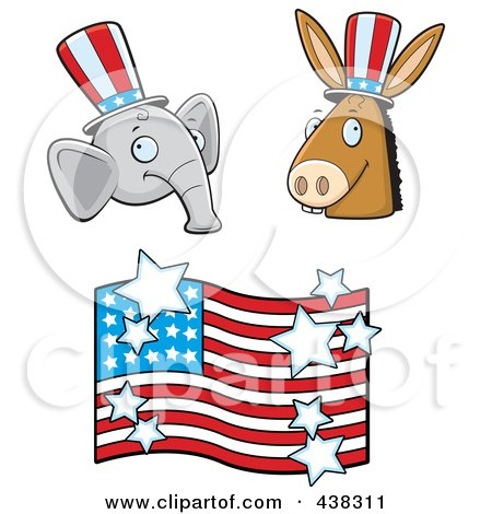 Royalty-Free (RF) Clipart Illustration of a Digital Collage Of A Republican Elephant, Democratic Donkey And American Flag by Cory Thoman