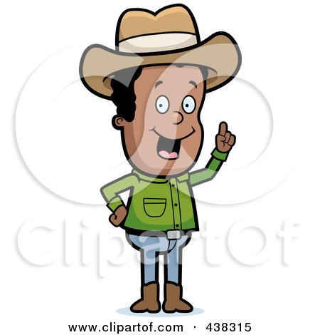 Royalty-Free (RF) Clipart Illustration of a Black Cowboy With An Idea by Cory Thoman