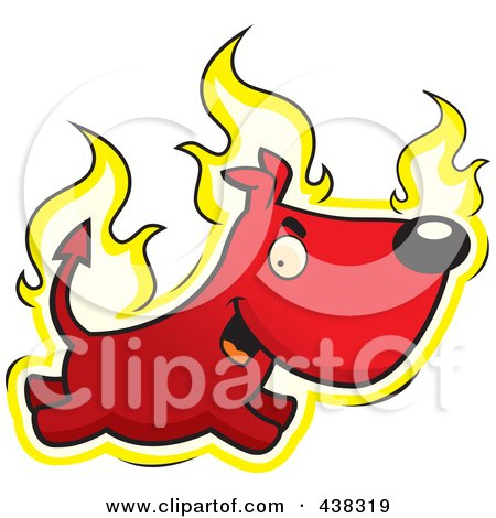 Royalty-Free (RF) Clipart Illustration of a Fiery Devil Dog by Cory Thoman