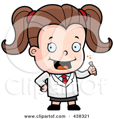 Royalty-Free (RF) Clipart Illustration of a Cute Scientist Girl Holding A Test Tube by Cory Thoman
