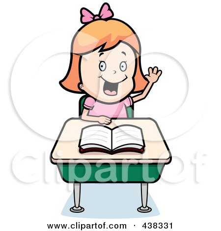 Royalty-Free (RF) Clipart Illustration of a Red Haired Girl Raising Her Hand At Her Desk by Cory Thoman