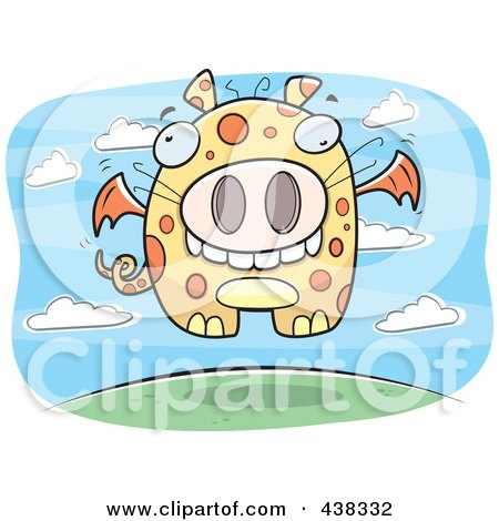 Royalty-Free (RF) Clipart Illustration of a Flying Spotted Dragon by Cory Thoman