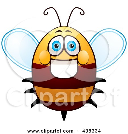Royalty-Free (RF) Clipart Illustration of a Friendly Fat Bee by Cory Thoman
