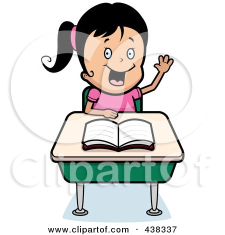 Royalty-Free (RF) Clipart Illustration of a Black Haired Girl Raising Her Hand At Her Desk by Cory Thoman