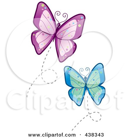 Flying Blue And Purple Butterflies Posters, Art Prints