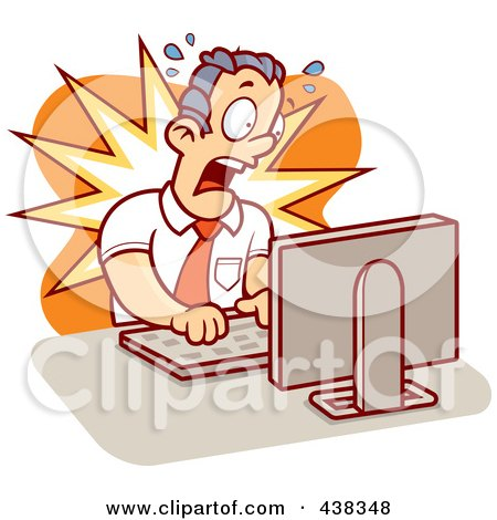 Royalty-Free (RF) Clipart Illustration of a Mad Businessman Working On A Computer by Cory Thoman
