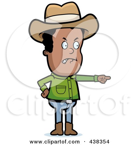 Royalty-Free (RF) Clipart Illustration of a Mad Black Cowboy Pointing by Cory Thoman