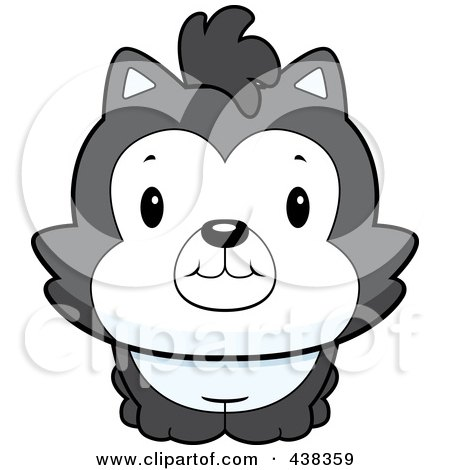 Royalty-Free (RF) Clipart Illustration of a Cute Husky Dog by Cory Thoman